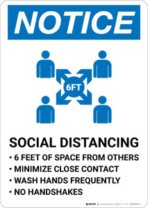 Notice: Social Distancing 6ft of Space from Others with Icon Portrait - Wall Sign