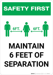 Safety First: Maintain 6 Feet of Separation with Icon Portrait - Wall Sign