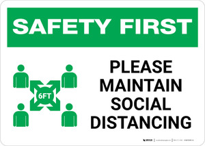 Safety First: Please Maintain Social Distancing with Icon Landscape - Wall Sign