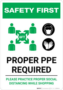 Safety First: Proper PPE Required Maintain Social Distance with Icons Portrait - Wall Sign