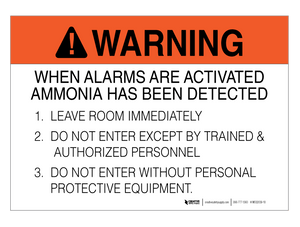Ammonia Alarm Procedure - Wall Sign
