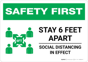 Safety First: Stay 6 Feet Apart with Icon Landscape - Wall Sign