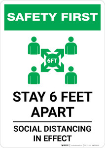 Safety First: Stay 6 Feet Apart with Icon Portrait - Wall Sign