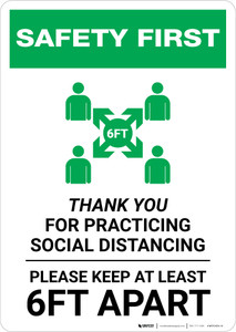 Safety First: Thank You For Practicing Social Distancing with Icon Portrait - Wall Sign