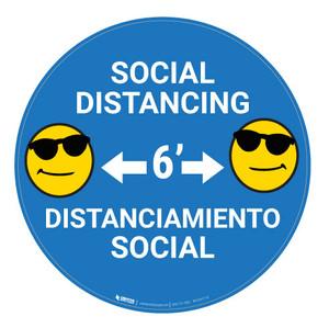 Socal Distancing with Emoji - Blue - Bilingual - Floor Sign