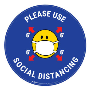 Please Use Social Distancing with Mask Emoji - Blue - Floor Sign