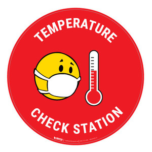 Temperature Check Station with Mask Emoji - Red - Floor Sign