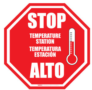 STOP - Temperature Check Station - Bilingual - Floor Sign