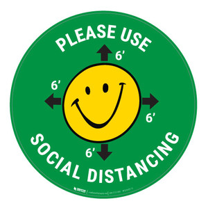Please Use Social Distancing with Smile Emoji - Green - Floor Sign