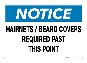 Hairnets/Beard Covers Required Past This Point - Wall Sign