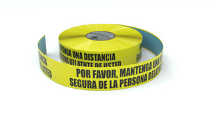 Please Maintain a Safe Distancing Spanish - Inline Printed Floor Marking Tape