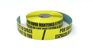 Please Keep 6ft Of Space From Those Next to You Bilingual Spanish - Inline Printed Floor Marking Tape