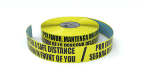 Please maintain a Safe Distancing Bilingual Spanish - Inline Printed Floor Marking Tape