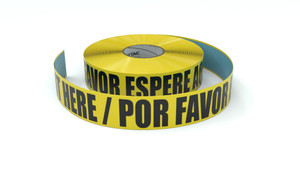 Please Wait Here Bilingual Spanish - Inline Printed Floor Marking Tape