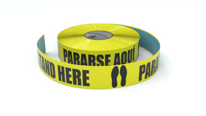 Stand Here Bilinigual Spanish - Inline Printed Floor Marking Tape