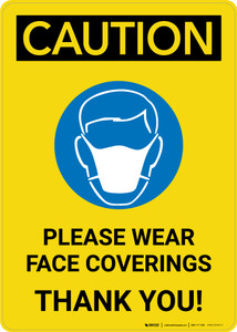 Caution: Please Wear Face Coverings with Icon Portrait - Wall Sign
