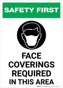 Safety First: Face Coverings Required In This Area with Icon Portrait - Wall Sign