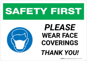 Safety First: Please Wear Face Coverings with Icon Landscape - Wall Sign