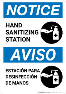 Notice: Hand Sanitizing Station Bilingual with Icon Portrait - Wall Sign