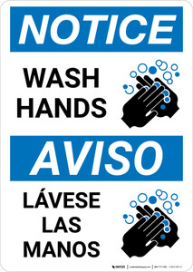 Notice: Wash Hands Bilingual with Icon Portrait - Wall Sign