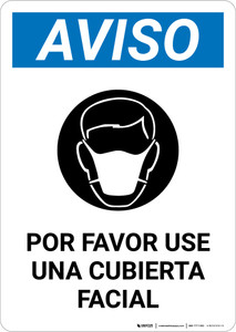Notice: Please Wear A Face Covering Spanish with Icon Portrait - Wall Sign