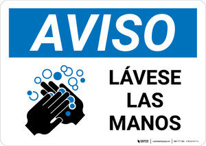 Notice: Wash Hands Spanish with Icon Landscape - Wall Sign