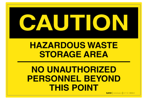 Hazardous Waste Storage Area - Wall Sign