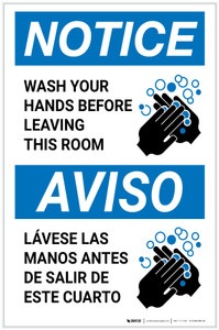 Notice: Wash Your Hands Before Leaving This Room ANSI Bilingual Portrait  - Label