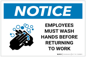 Notice: Employees Wash Hands Before Work ANSI Landscape  - Label