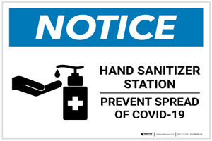 Notice: Hand Sanitizer Station COVID-19 ANSI Landscape  - Label