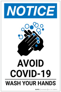 Notice: Avoid COVID-19 Wash Your Hands ANSI Portrait  - Label