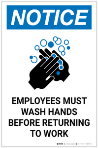 Notice: Employees Must Wash Hands Before Returning to Work ANSI Portrait  - Label