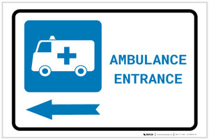 Ambulance Entrance Left Arrow with Icon Landscape - Label