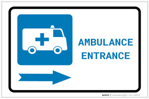 Ambulance Entrance Right Arrow with Icon Landscape - Label