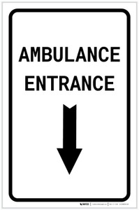 Ambulance Entrance Below with Arrow Portrait - Label