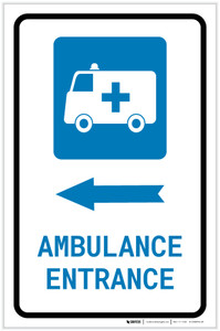 Ambulance Entrance Left Arrow with Icon Portrait - Label