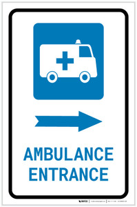 Ambulance Entrance Right Arrow with Icon Portrait - Label