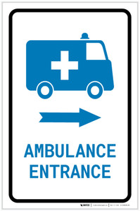 Ambulance Entrance Right Arrow with Icon Portrait v2 - Label