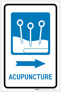 Acupuncture Right Arrow with Icon Portrait - Label