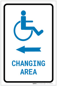 ADA Accessible Changing Area Left Arrow with Icon Portrait v2 - Label
