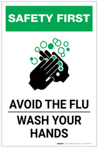 Safety First: Avoid The Flu Wash Your Hands Portrait  - Label