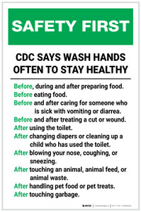 Safety First: CDC Wash Hands Often Portrait  - Label