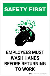 Safety First: Employees Must Wash Hands Portrait  - Label