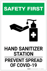 Safety First: Hand Sanitizer Station COVID-19 Portrait  - Label