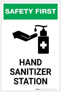 Safety First: Hand Sanitizer Station Portrait  - Label
