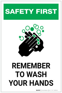 Safety First: Remember To Wash Your Hands Portrait  - Label