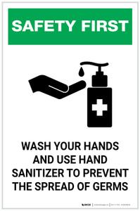 Safety First: Wash Hands & Use Hand Sanitizer Portrait  - Label