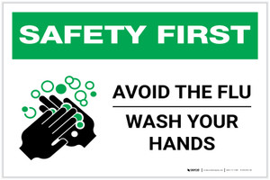 Safety First: Avoid The Flu Wash Your Hands Landscape - Label