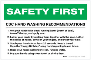 Safety First: CDC Hand Washing Recommendations Landscape - Label