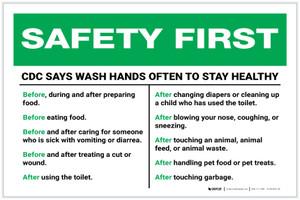 Safety First: CDC Wash Hands Often Landscape  - Label